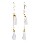 Unique BargainsTassel Pendant Dangling Earrings Fish Hook Eardrop Gold Tone White Pair