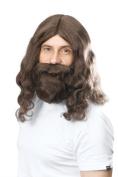 Bristol Novelty BW581 Hippy Jesus Wig and Beard Set, Brown, One Size