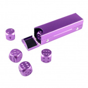 MagiDeal 5 Pieces/Set Aluminium Alloy 16mm 6 Sided Square Cube Spot Dice Round Corner with Case Box for Home Party Play Board Games - 6 Colours - Purple