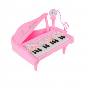 Baoli Electronic 24 Keys Little Grand Piano Toy Set with Microphone Pink for Girl