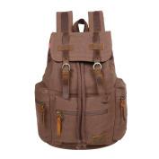 Canvas Rucksack Casual Daypack GoHiking Vintage Leather Backpack SchoolBag Hiking Bag