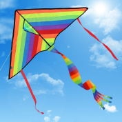 Huge Colourful Kite for Kids and Adults | Best Outdoor Toys for Family Games | Have Fun to Fly Rainbow Kites this Summer from Satu Brown | Enhance Connexion with Children | Ideal Gift | 80m Flying String | 100% Infinity Guarantee