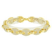 Guccis Mariner Sterling Silver Bracelet Brand New Gold Finish Lab Created Cubic Zirconias Brand New