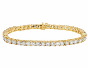14K Yellow Gold One Row Solitaire Real Diamond Bracelet 16ct 5MM