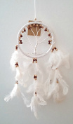 Dream Catcher - Tree of Life - Wood Beads and Suede Ring ~ WHITE ~