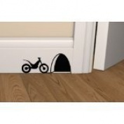 "Mouse Hole "" WITH MOTORBIKE LEFT OUTSIDE "" Skirting Board Wall Sticker Vinyl Decal "" 16cm x 7cm"