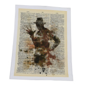 ODN Elm Street Newspaper Oil Painting Prints on Canvas Wall Art for Living Room or Office