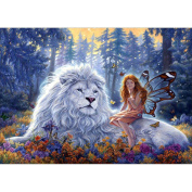 KAYI 5D Diamond Painting White Lion and Beauty Full-drilled Rhinestone Hand Craft Painting Home Decor