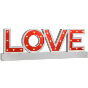 WeRChristmas Pre-Lit Mirror Love Sign with Base Christmas Decoration, Wood, 38 cm - Red