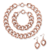 Curb-Link Necklace, Bracelet and Drop Earrings Three-Piece Set in Rose Gold-Plated