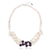46cm Handmade Cultured Freshwater Pearls Simulated Rose Quartz Amethyst Necklace