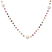 Orchid Jewellery Sapphire and Pearl 925 Sterling Silver Beaded Necklace