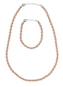 Sterling Silver Gold Plated Ball Strand 43cm Necklace and 18cm Bracelet Set