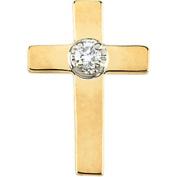 14k Yellow Gold Cross Lapel Pin With Diamond 9x7mm - .01 cwt