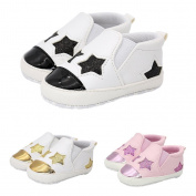 Sharplace Toddler Newborn Cute Stars Shoes Kids Soft Sole Artificial PU Sneaker 0-18months - Black, S
