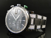 Gucci Mens Custom Black PVD YA101331 Diamond Gucci Watch 6.5 Ct