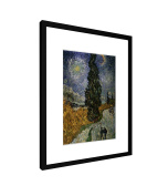 """Vincent Van Gogh - Country Road with Cypresses - 11,81"""" x 15,75"""" inch (30x40 cm) - Picture with frame / Framed poster - Art print - wall art - artists, paintings, photography - Old Masters / Museum"""