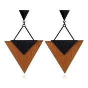 Triangle Wooden Tree Statement Earrings Geometry Jewellery Party Wear Gift For Women Girl Friend