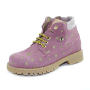 WALKEY Flexible Shoes With Pois Laces and Zip Pink/Gold Made In Italy