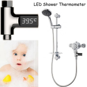 DIKEWANG LED Display Water Shower Flow Thermometer Smart Electricity Temperture Metre,Specially Suitable For Bathing Babies,Ideal For Aged Pet Shower Care and Elderly