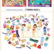 WSSB Magnetic Wooden Dress-Up Dolls Play Set Reusable Sticker Pad
