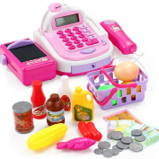 WSSB Role Play Toy,Pretend Play Electronic Cash Register Toy Realistic Actions & Sounds With Mic