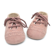 Minuya Infant Baby Prewalker Shose Micro Suede shoelace Printed Lace up Shoes