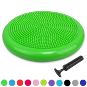Trideer Extra Thick 33 / 34cm Wobble Cushion Balance Board with Pump, Anti-Burst / Anti-Slip Inflated Stability Disc - Great for Improving Core Strength & Relieving Back Pain
