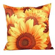 3D Sunflower Pattern Cotton Linen Throw Pillow Car Sofa Cushion Cover for Home Decor