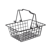 Metal Iron Small storage Basket Rectangle Two Handles Multiuse Basket shopping basket Wire Basket with Handles Universally Applicable-black
