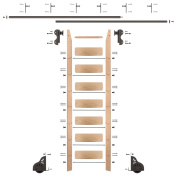 2.4m Rolling Library Red Oak Ladder Kit with 3.7m of Track