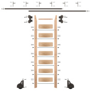2.4m Rolling Library Red Oak Ladder Kit with 3.7m of Track Oil Rubbed Bronze