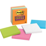 Post-it Notes Super Sticky Notes, 10cm x 10cm , Lined, 5 Electric Glow Colours, Six 90-Sheet Pads/Pack