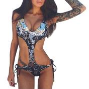 Bovake Bathing Suit, Summer   Plus Size Swimwear   Padded Bra   Womens Sequins Sexy Jumpsuit Backless Ladies Sleeveless Swimwear