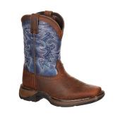 Durango Western Boot Boys 20cm Cowboy Heel Square Toe Brown Blue DWBT052