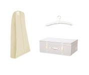 Simpson & Ruxton Ivory Bridal Gift Set - Breathable Cover + Medium Storage Box + Free Satin Hanger