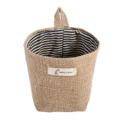 dragonaur Mini Jute Hanging Storage Pouch Basket Laundry Container Home Cleaning Supplies