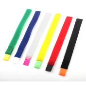 Self Adhesive Detachable Hook Loop Cable Wire Organiser Tape Assorted Colour 6pcs