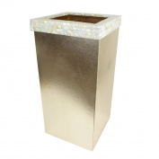 Madrona – Shiny Gold Faux Leather Laundry bin with Luxurious Mother of Pearl trim – Suitable for Home | Hotels | Receptions | Spa | Guesthouses