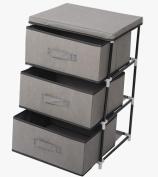 WOLTU SSK5033gr Fabric Chest of Drawers Tower Storage Shelf 3 Drawer Storage Units Storage Wardrobe Cabinet Organiser, 46 x 39.5 x 65 cm