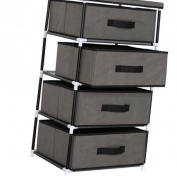 WOLTU SSK5032gr Fabric Chest of Drawers Tower Storage Shelf 4 Drawer Storage Units Storage Wardrobe Cabinet Organiser, 46 x 39.5 x 84 cm