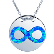 Yumilok Jewellery 925 Sterling Silver Synthetic Opal Infinite Symbol Disc Pendant Coin Necklace Best Gift for Women/Girls