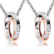 """Bishilin 2 Pieces Stainless Steel Necklace for Couples CZ Rings with Engraving """"foever love"""" Pendant Necklace Black Rose Gold"""