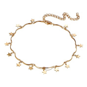Huayang  Fashion Jewellery Brief Tiny Star Pendant Choker Necklace Alloy Neck Collar Chain for Women Girls