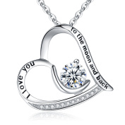 """Clearine Women 925 Sterling Silver CZ Engraved """"I Love You to the Moon and Back """" Moon Love Heart Pendant Necklace"""