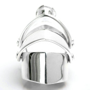 AMDXD Jewellery 925 Sterling Vintage Rings for Men Women Four Armour Silver Punk Open Ring Adjustable