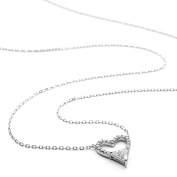 Open Heart CZ Necklace with Heart Shaped CZ
