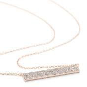 Flat Bar CZ Necklace Rose Gold