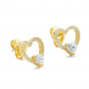 Heart in Heart Open Stud Earrings