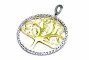 PEGASO Jewellery Women 18 kt Gold White and Yellow – Tree of Life with Cubic Zirconia Bi-colour Pendant – Girl